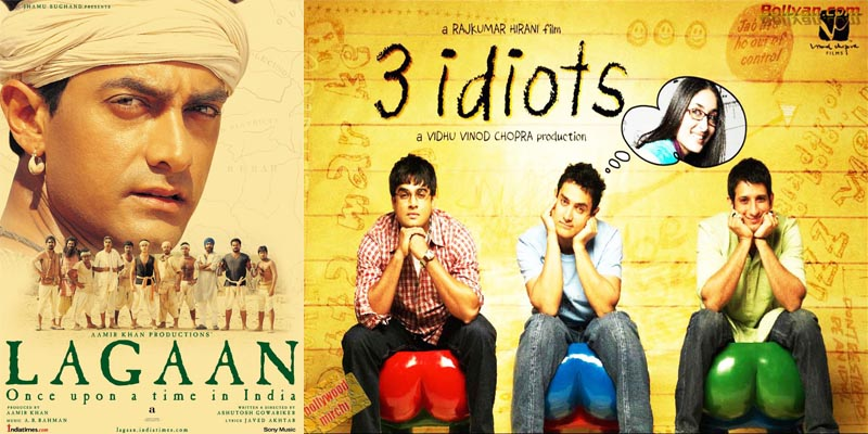 bollywood Aamir Khan Lagaan and 3 Idiots
